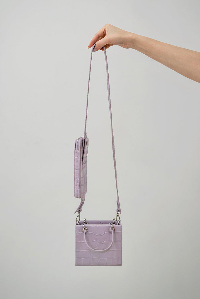 NIKI CROC EFFECT SHOULDER BAG - PURPLE