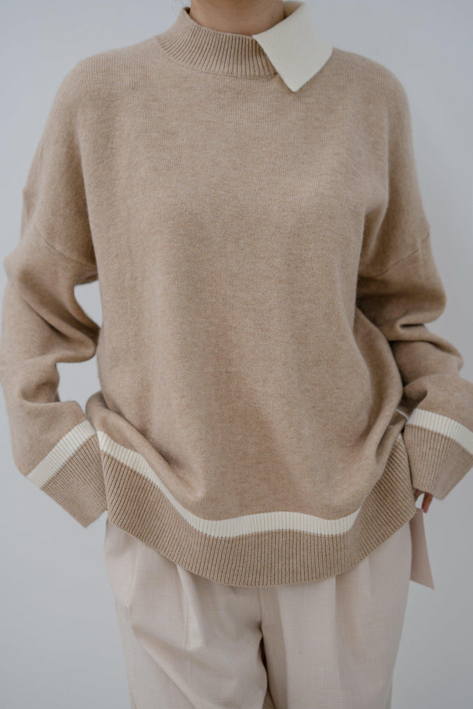 LITTLE COLLAR CASHMERE BLEND SWEATER - CAMEL