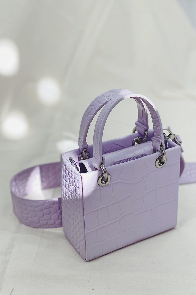 NIKI CROC EFFECT SHOULDER BAG - PURPLE-ACCESSORIES-My Dearest