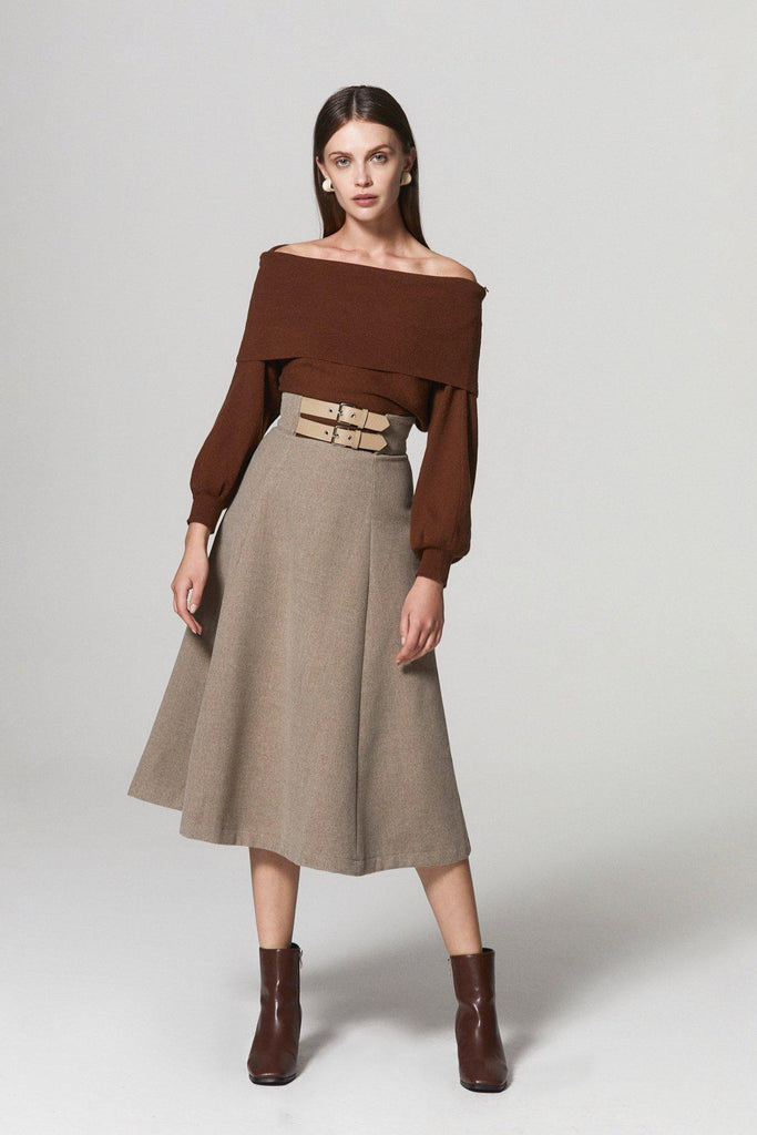 BRUNCH DATE WOOL BLEND BELTED MIDI SKIRT-SKIRTS-My Dearest
