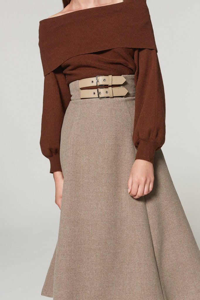 BRUNCH DATE WOOL BLEND BELTED MIDI SKIRT - My Dearest