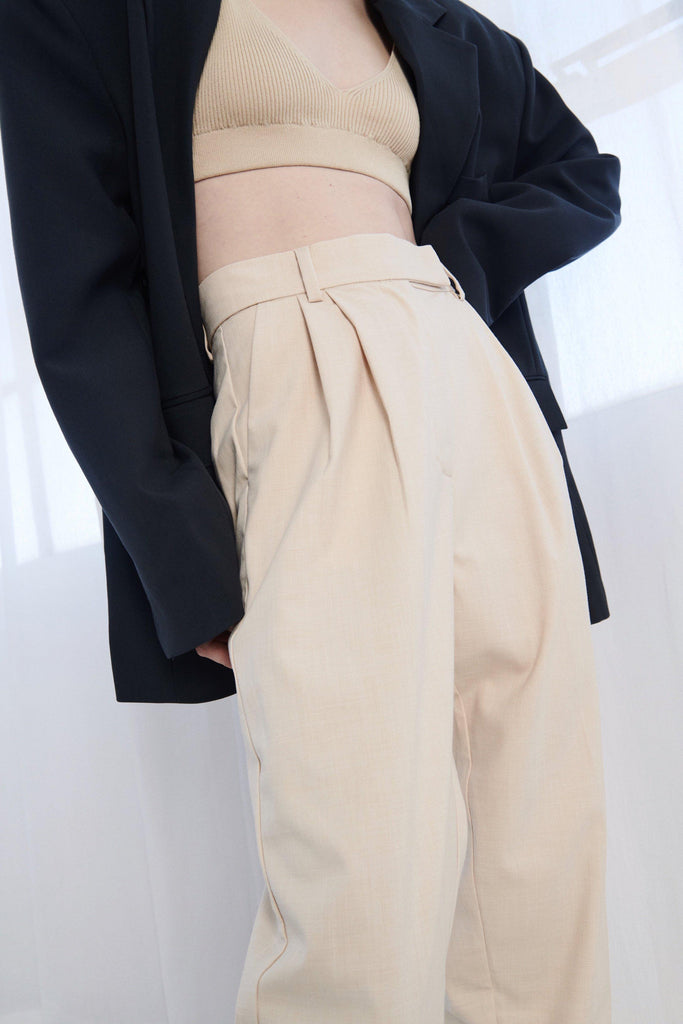 NINA TAPERED PANTS - BEIGE