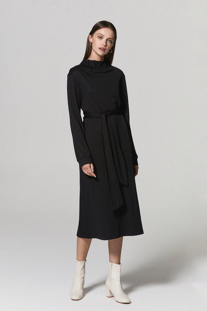 NOBODY ELSE BELTED STRETCH KNIT DRESS - BLACK - My Dearest