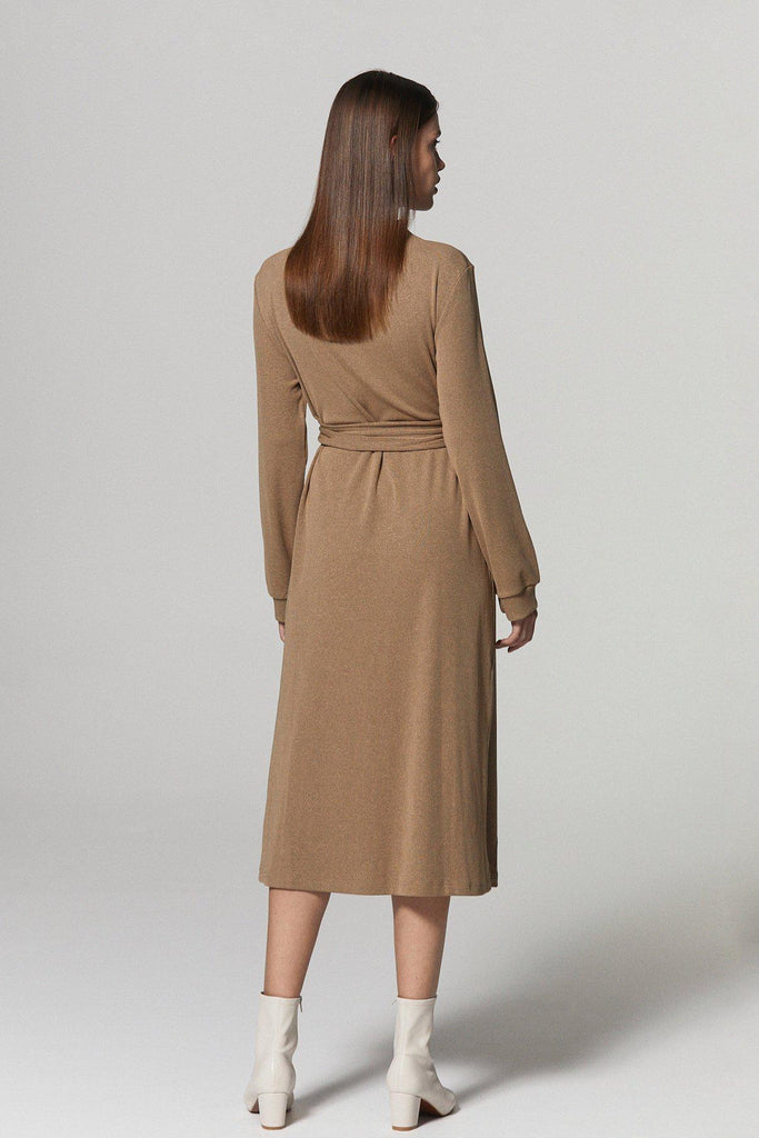 NOBODY ELSE BELTED STRETCH KNIT DRESS - BROWN - My Dearest