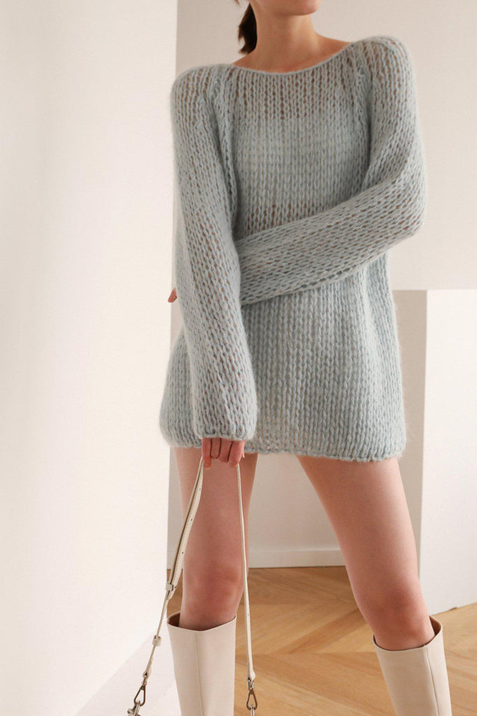 STAY OPEN KNIT MOHAIR SWEATER - BLUE