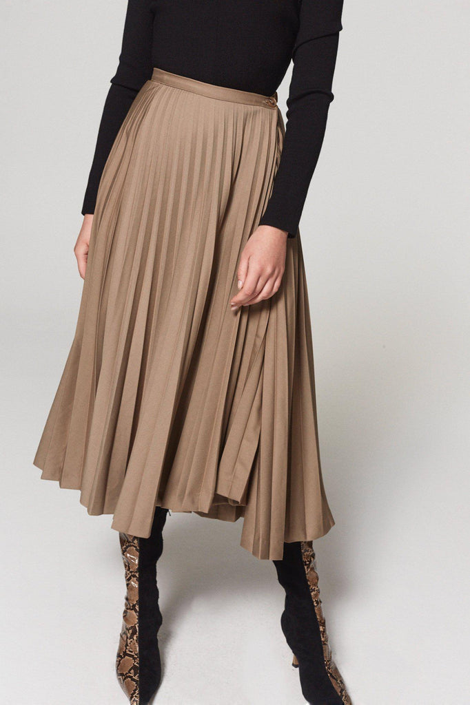 MORE THAN PLEATED MIDI SKIRT - BROWN - My Dearest
