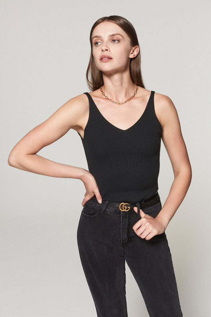 GIGI RIBBED KNIT TANK TOP - BLACK