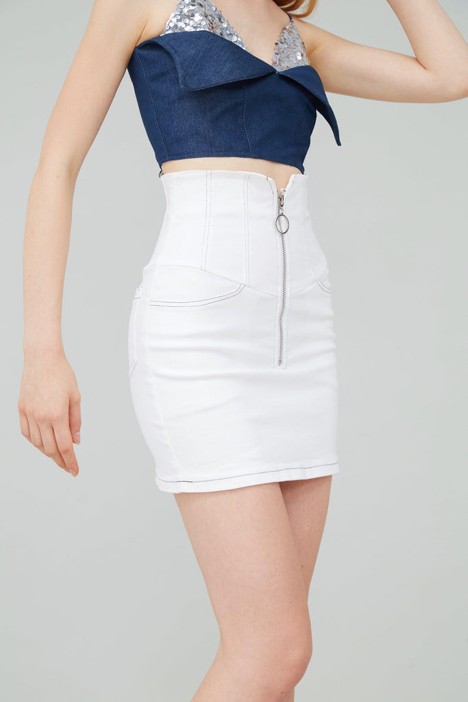 HOOKED ZIP EMBELLISHED MINI SKIRT - WHITE-SKIRTS-My Dearest