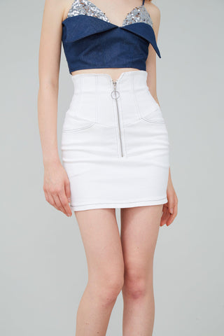 HOOKED ZIP EMBELLISHED MINI SKIRT - WHITE - My Dearest