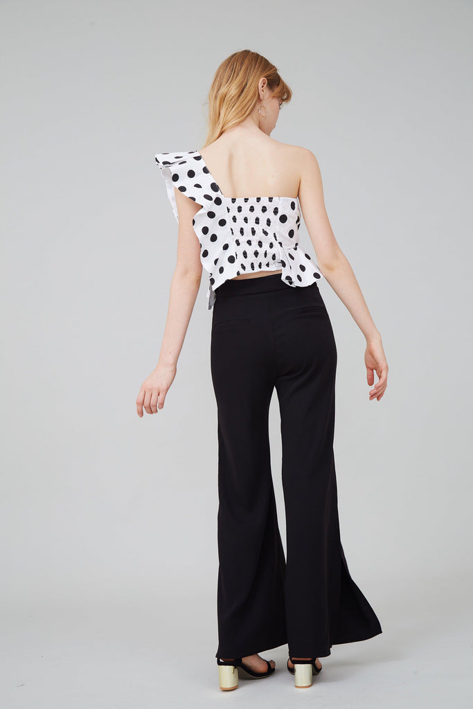HAVANA OFF-THE-SHOULDER RUFFLED POLKA-DOT TOP - My Dearest