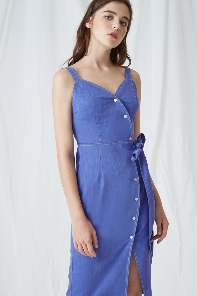 BECCA BUTTON-DETAILED WRAP DRESS - My Dearest