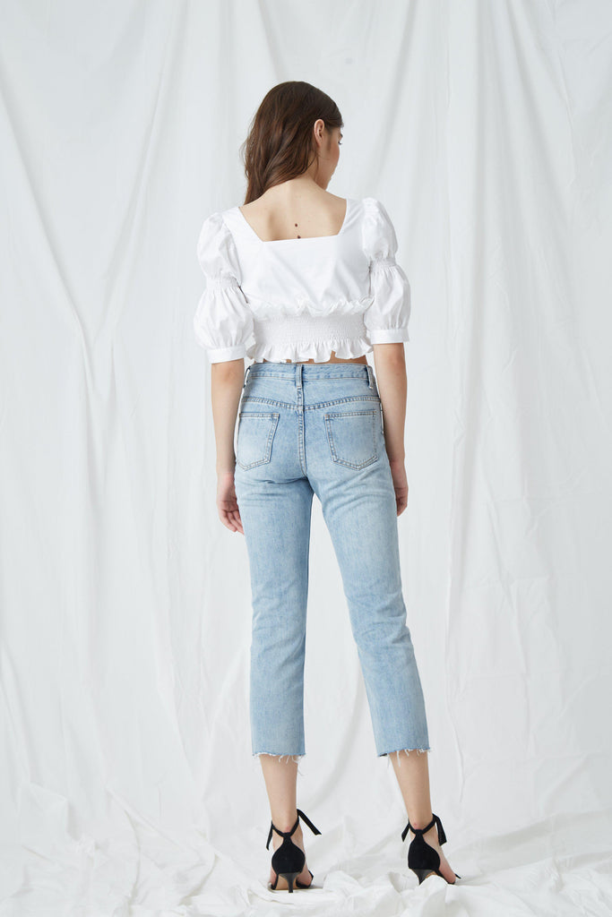 BUBBLE SLEEVE SHIRT - WHITE-TOPS-My Dearest
