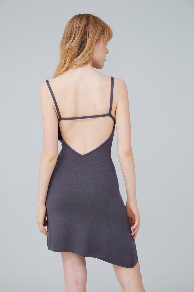 SEXY BACK STRETCH-KNIT MINI DRESS - GREY - My Dearest