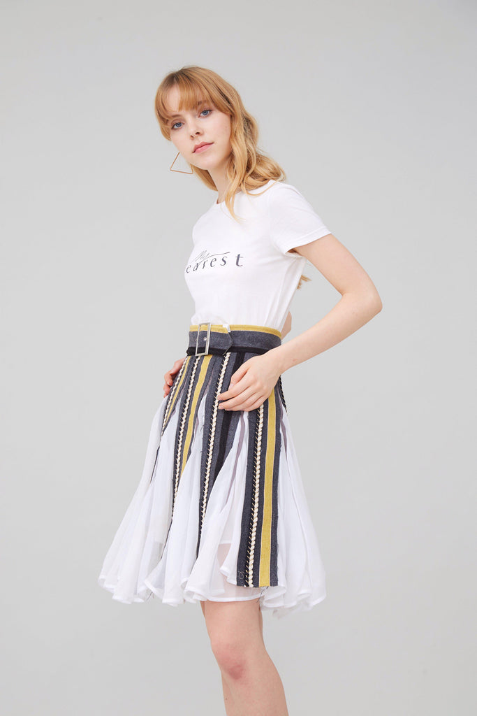 ALICE IN WONDERLAND WOOL AND CHIFFON WRAP SKIRT - My Dearest