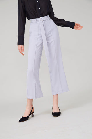 NEW RULES BELTED CREPE PANTS - LIGHT GREY - My Dearest