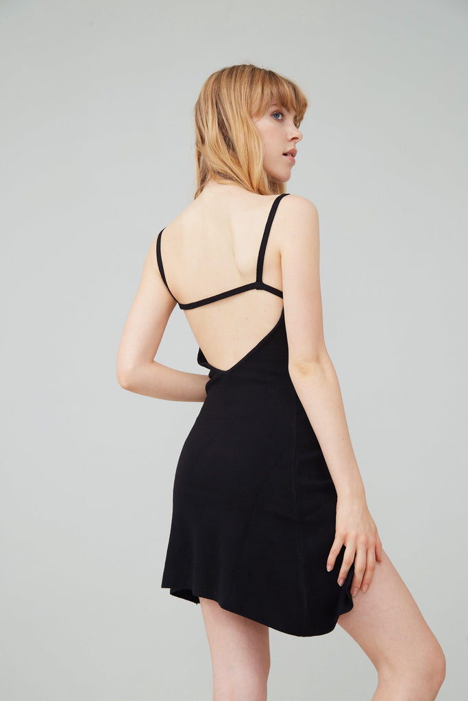 SEXY BACK STRETCH-KNIT MINI DRESS - BLACK-DRESS-My Dearest