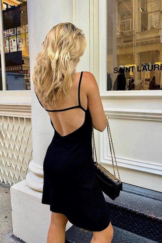 SEXY BACK STRETCH-KNIT MINI DRESS - BLACK - My Dearest