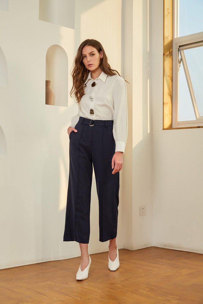 NEW RULES BELTED CREPE PANTS - NAVY BLUE - My Dearest