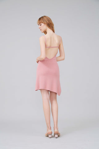 SEXY BACK STRETCH-KNIT MINI DRESS - PINK - My Dearest