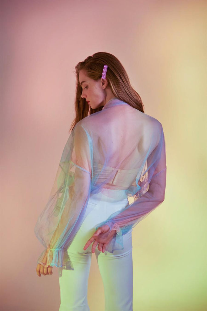RAINBOW PUSSY-BOW TULLE BLOUSE-TOPS-My Dearest