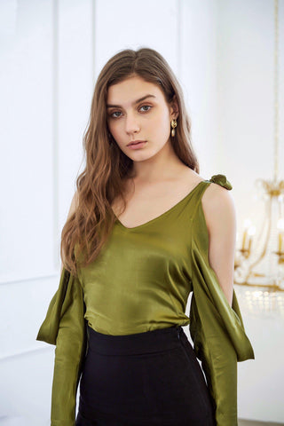 GLAM COLD SHOULDER SATIN TOP - My Dearest