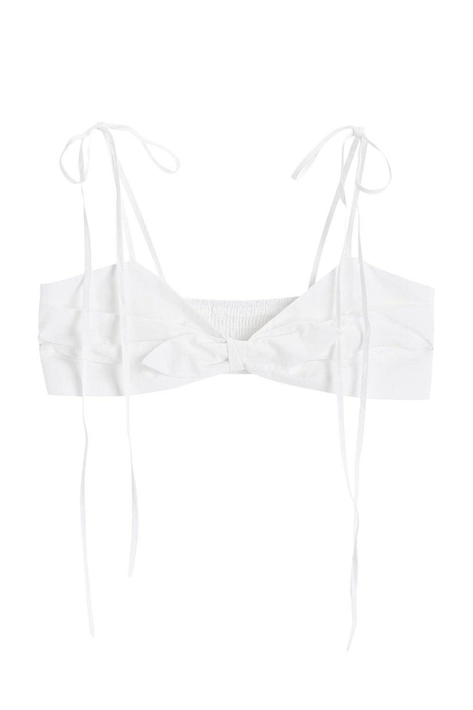 YOUTH COTTON-POPLIN BRA TOP - WHITE