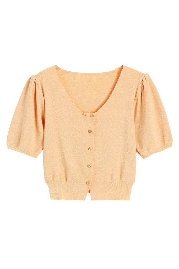 SUMMER HUES BUTTON-EMBELLISHED STRETCH KNIT TOP