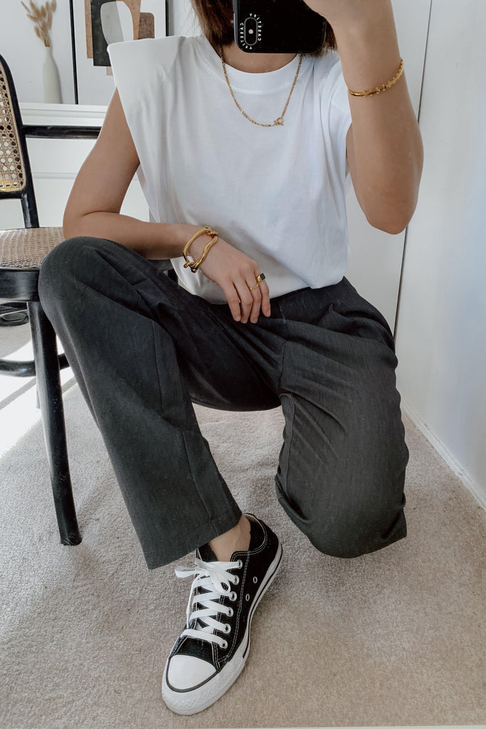 STREET STYLE HIGH RISE TAPERED PANTS