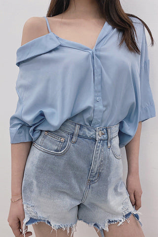 WILD FRAYED DENIM SKORT - BLUE - My Dearest