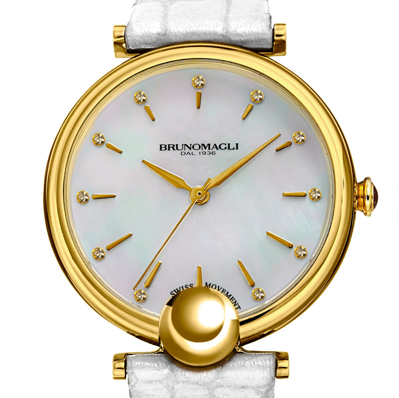 Miranda 1021 Watch, White Strap