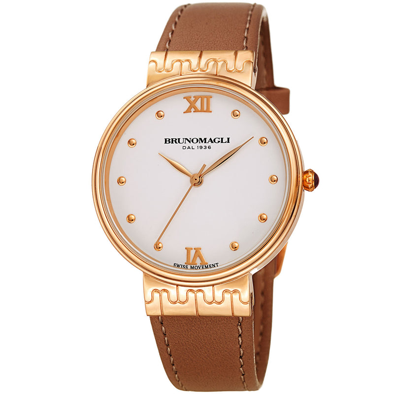 Isabella 1102 Watch, Rose Gold with Brown Strap