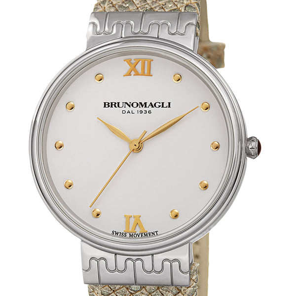 Isabella 1102 Watch, Metallic Beige Strap