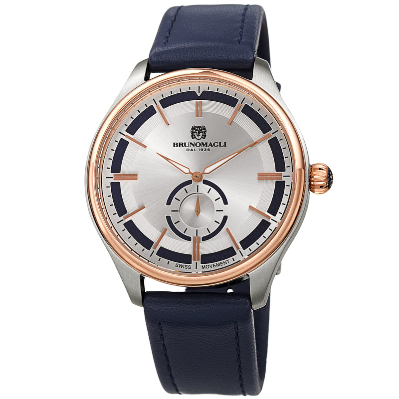 Men's Luca Pelle Watch - Two-Tone Silver and Rose-Tone/Blue