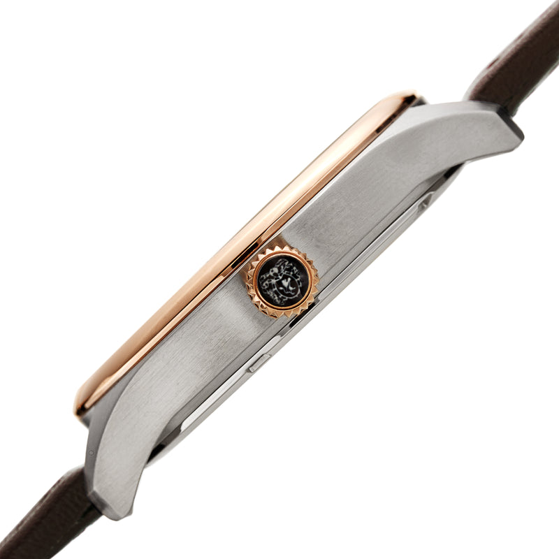 Men's Luca Pelle Watch - Two-Tone Silver and Rose-Tone/Brown