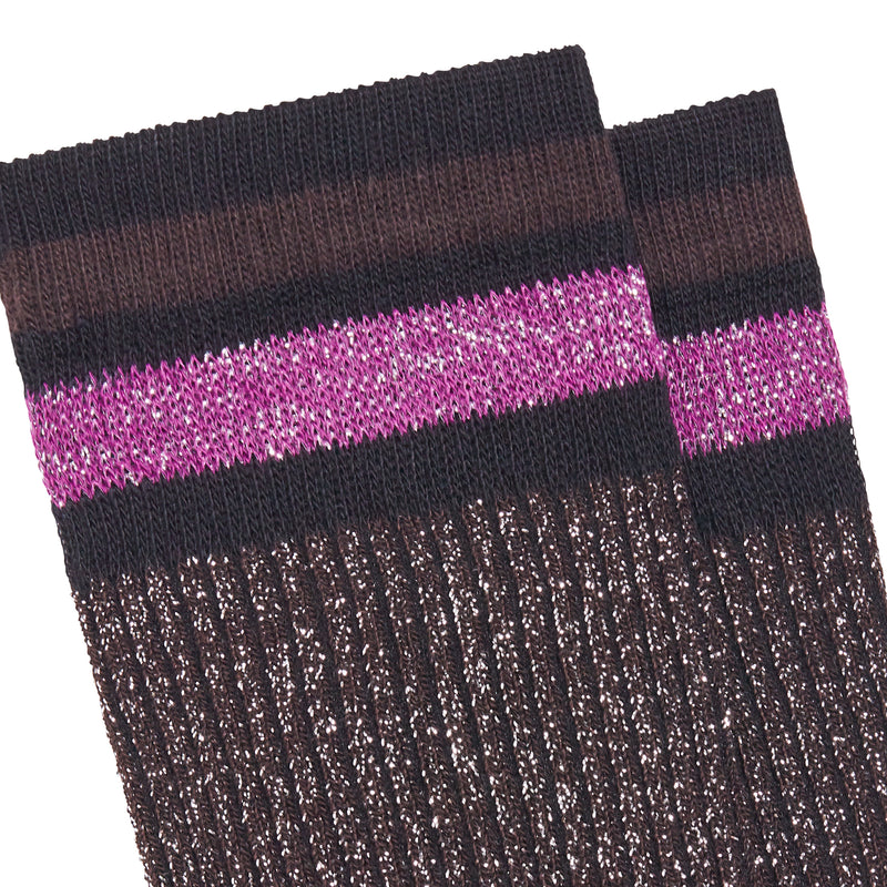 Women's Chapo Striped Socks - Brown/Purple