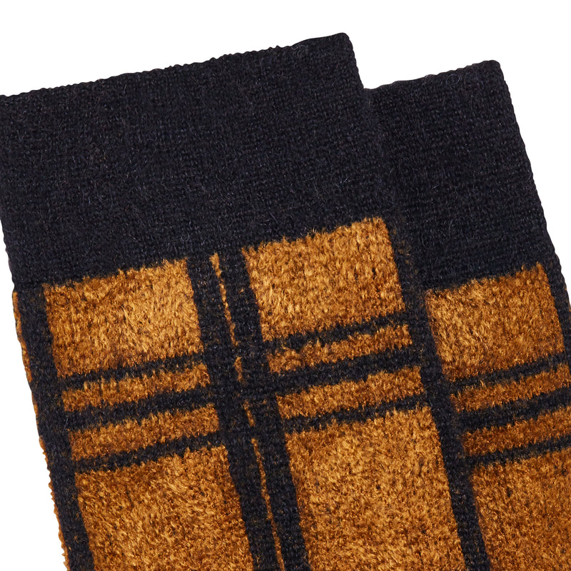 Women's News Tartan Socks - Black/Camel