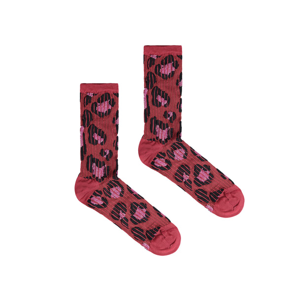 Women's Pampa Animal Print Socks - Magenta