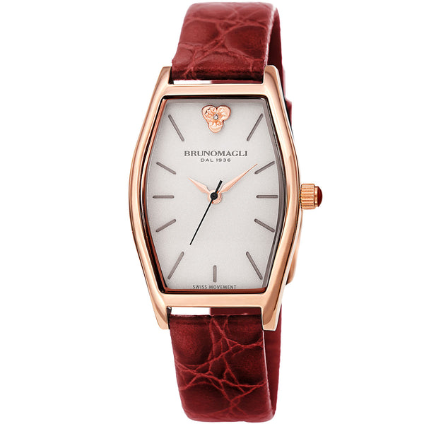 Chiara 1261 Tonneau Watch, Burgundy Strap