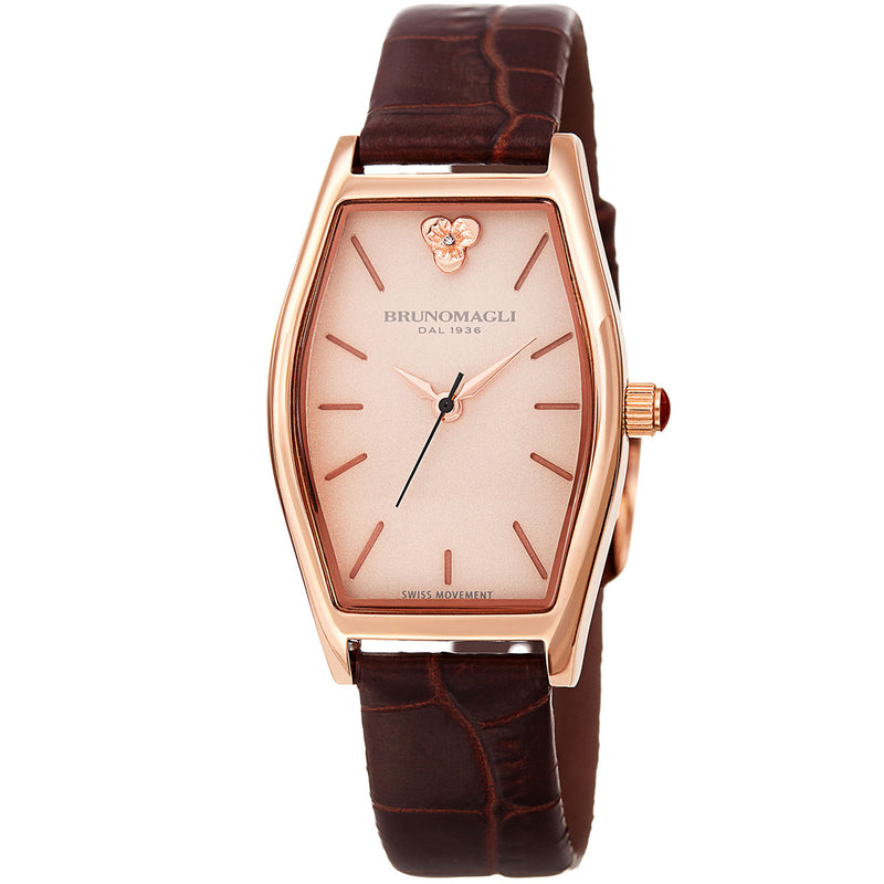 Chiara 1261 Tonneau Watch, Brown Strap