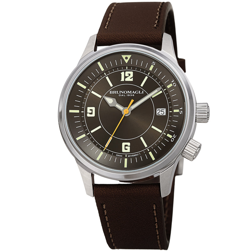 Men's Vittorio Watch - Silver-Tone/Dark Brown