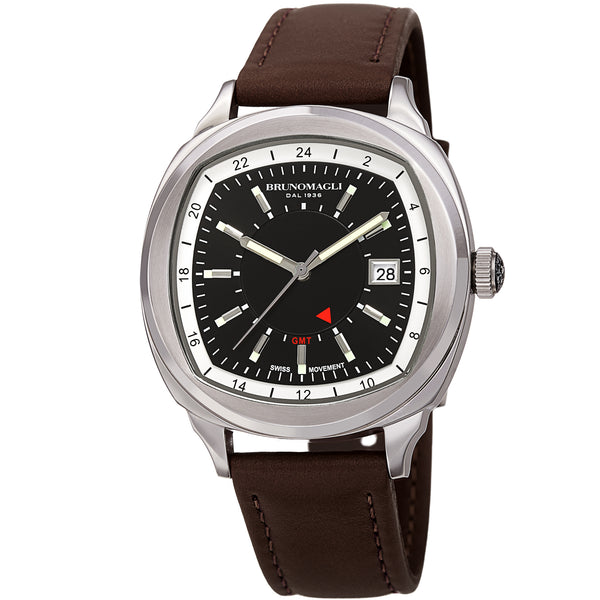 Men's Enzo Watch - Silver-Tone/Brown