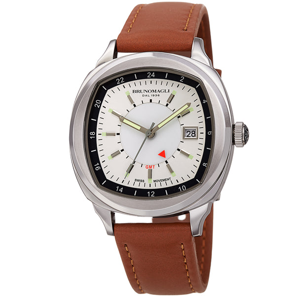 Men's Enzo Watch - Silver-Tone/Tan