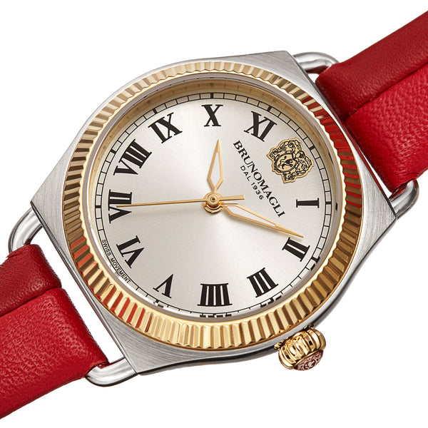 Women's Lucia 1341 Watch - Gold and Silver/Medium and Dark Red