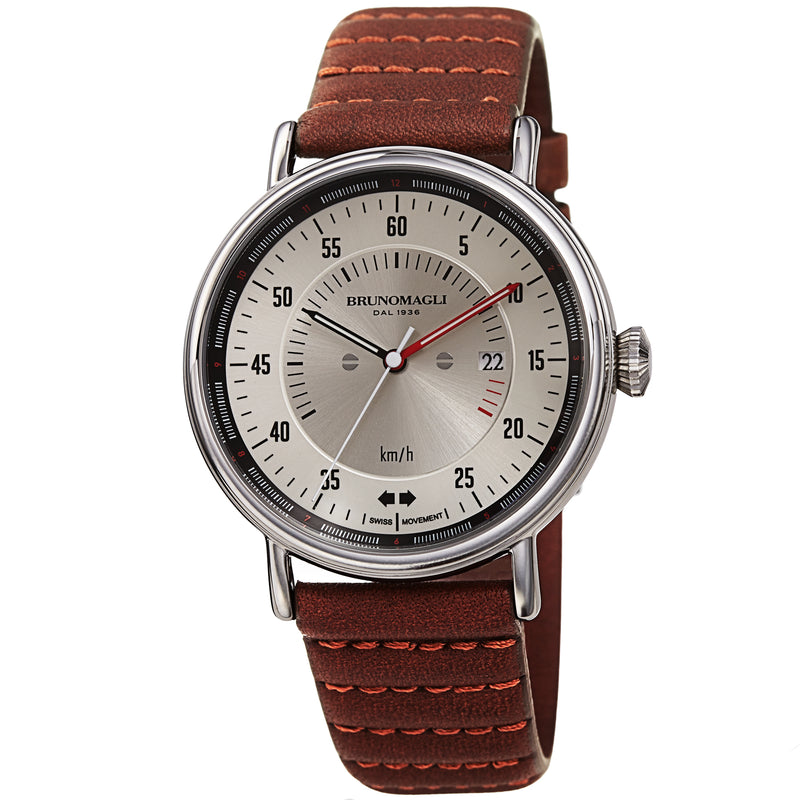 Men's Alex 1361 Watch - Silver-Tone/Brown