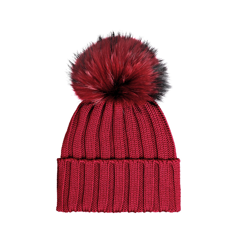 Knit Merino Wool Hat with Fur Pom - Merlo