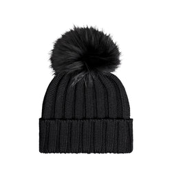 Knit Merino Wool Hat with Fur Pom - Carbon