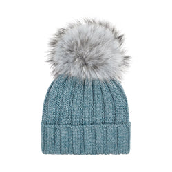 Knit Merino Wool Hat with Fur Pom - Salvia