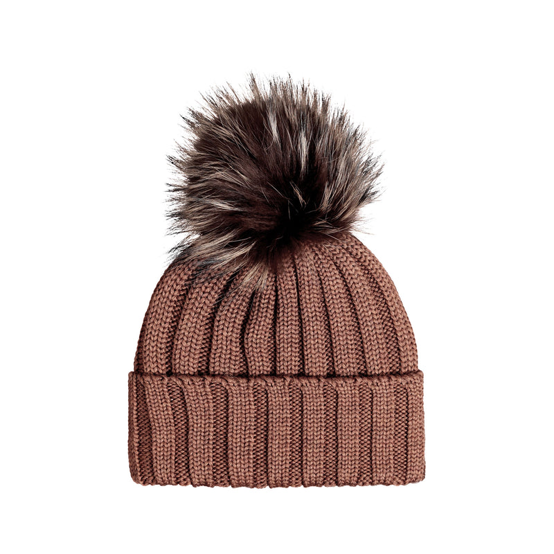 Knit Merino Wool Hat with Fur Pom - Tabaco
