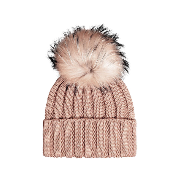 Knit Merino Wool Hat with Fur Pom - Wafer