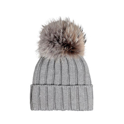 Knit Merino Wool Hat with Fur Pom - Likene